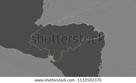 Honduras Topographic Map.Honduras Area Map Azimuthal Equidistant Projection Stock