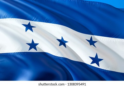 Honduras flag. 3D Waving flag design. The national symbol of Honduras, 3D rendering. The national symbol of Honduras background wallpaper. South America flag 3D ribbon, wallpaper, pattern background
