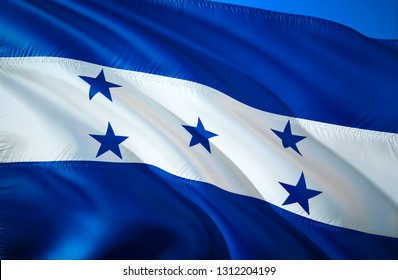 Honduras flag. 3D Waving flag design. The national symbol of Honduras, 3D rendering. Honduras 3D Waving sign design. Waving sign background wallpaper. 3D pattern background download HD wallpaper