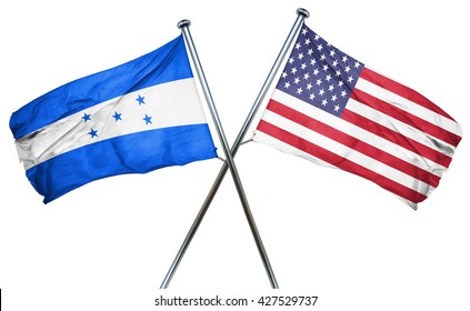 Honduras flag with american flag, isolated on white background