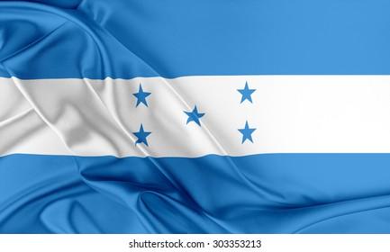 Honduras Flag. Flag with a beautiful glossy silk texture.