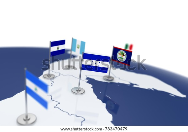 Honduras flag. Country flag with chrome flagpole on the world map with neighbors countries borders. 3d illustration rendering flag