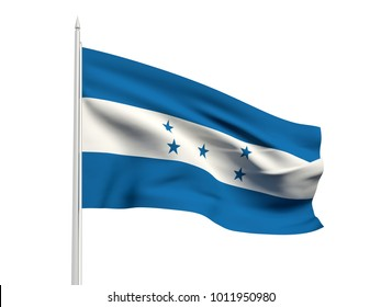 Honduras flag floating in the wind with a White sky background. 3D illustration.
