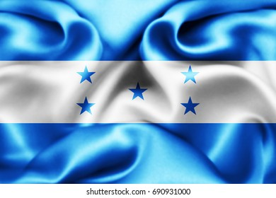 Honduras  flag of silk-3D illustration