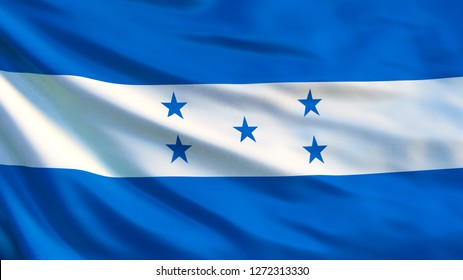 Honduras flag. Waving flag of Honduras 3d illustration. Tegucigalpa