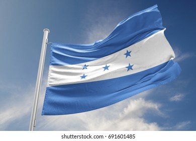 Honduras flag is waving at a beautiful and peaceful sky in day time while sun is shining. 3D Rendering