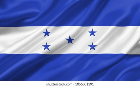 Honduras flag waving with the wind, 3D illustration.