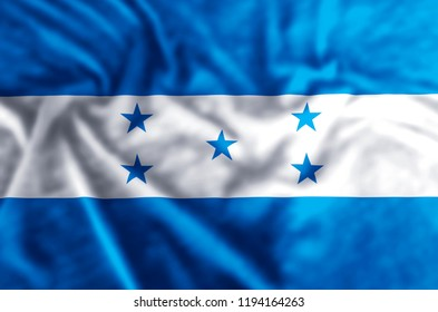 Honduras stylish waving and closeup flag illustration. Perfect for background or texture purposes.