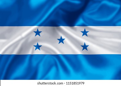 Honduras waving and closeup flag illustration. Perfect for background or texture purposes.