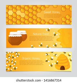 Honey banners. Cute cartoon honeybees with beehive. set of honeybee poster, natural food and honeycomb illustration