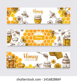 Honey banners. Vintage hand drawn bee and honeyed flower, honeycomb and hive labels. Illustration of healthy food, natural sweet hone web poster illustration