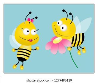 Honey bee with flower