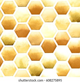 Honey bee honeycomb pattern on white background. Watercolor seamless pattern.