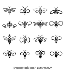 Honey bee set. Set of honey bee labels and icons for honey products, natural and farm honey. Isolated insect icons. Flying bee. Creative design industrious bees. Illustration in flat linear style.