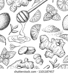 Honey, ginger, lemon and mint seamless pattern drawing. Wooden spoon, hearb and fruit sketch. Engraved illustration with tea ingredient, alternative medicine. Label, packaging design.