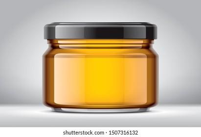 Honey Jar on Background. 3d rendering