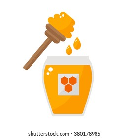 Honey jar with honey spoon isolated icon on white background. Drizzler and honey drops. Sweet honey. Organic honey. Natural honey from apiary farm. Beekeeping product. Flat style illustration.