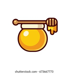 Honey jar with wooden spoon illustration. Modern bright cartoon icon isolated on white background.