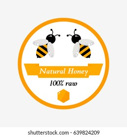 Honey label on background. Cartoon label. Honey product tag for apiary farm or beekeeping industry. Flat style illustration.