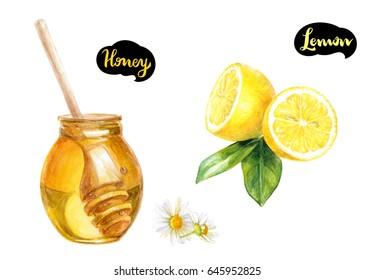 Honey and lemon watercolor illustration. Honey dipper, lemon cut, chamomile flower isolated on white background.