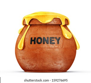 honey in a pot isolated on white