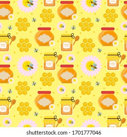 Honey seamless pattern. Beekeeping endless background, texture. illustration.