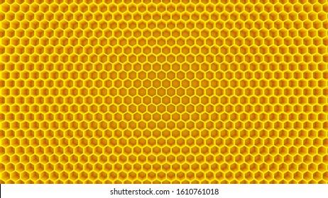 honey yellow cells honeycomb beehive hexagon background 3D illustration
