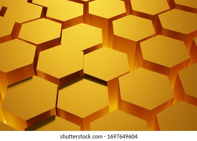 Honeycomb, abstract color yellow background, 3D rendering