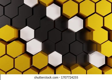 Honeycomb, abstract color yellow and black  background, 3D rendering