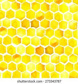 Honeycomb bee texture watercolor