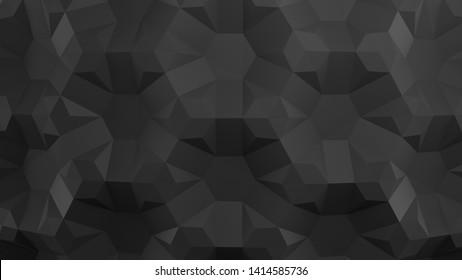 Honeycomb. Black folding paper. Origami tessellations background. 3D illustration