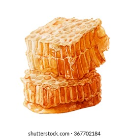 Honeycomb. Fresh honey in the comb. Watercolor illustration.