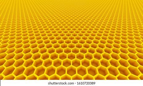 honeycomb yellow honey cells beehive 3D illustration
