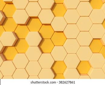 Honeyomb yellow orange  abstract 3d hexagon background