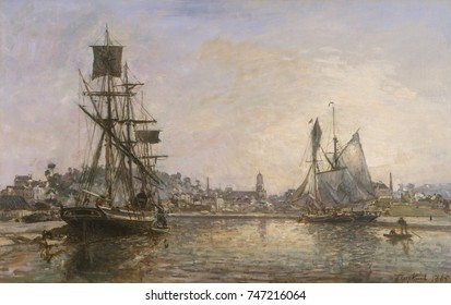 Honfleur, by Johan Barthold Jongkind, 1865, French impressionist painting, oil on canvas. In Normandy in the 1860s, Jongkind met and shared ideas with painters Alfred Sisley, Eugene Boudin, and the yo