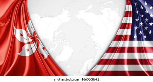 Hongkong und die amerikanische Flagge mit Kopienraum für Ihren Text oder Ihre Bilder und Hintergrund-3D-Illustration