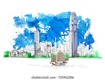 Hong Kong business center, bank of China, Sketch with colourful water colour effects