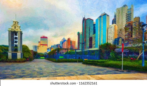 Hong Kong City in oil paints. Digital structure of painting