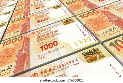 Hong Kong dollar bills stacked background. 3D illustration.