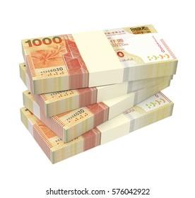 Hong Kong dollar bills stacks isolated on white background. 3D illustration.