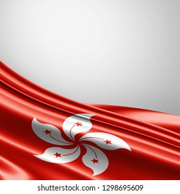 Hong Kong   flag of silk with copyspace for your text or images and white background-3D illustration