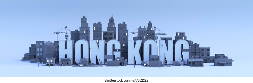 hong kong lettering, city in 3d render