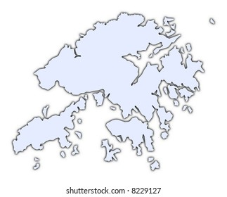 Hong Kong light blue map with shadow. High resolution. Mercator projection.