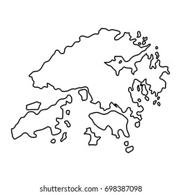 Hong Kong map of black contour curves of illustration. Raster copy.
