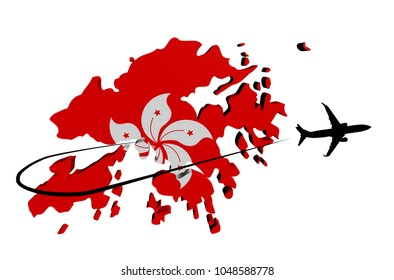Hong Kong map flag with plane silhouette and swoosh 3d illustration