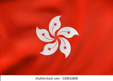 Hong Kongese official flag. Patriotic chinese symbol, banner, element, background. Hong Kong is special region of PRC. Correct colors. Flag of Hong Kong waving in wind, fabric texture. 3D illustration