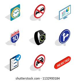 Honk icons set. Isometric set of 9 honk icons for web isolated on white background
