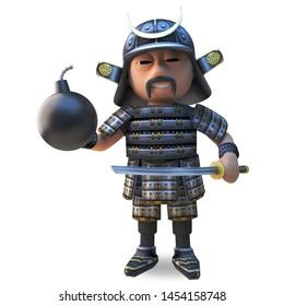 Honourable Japanese samurai warrion in traditional armour holding a katana sword and gunpowder bomb, 3d illustration render