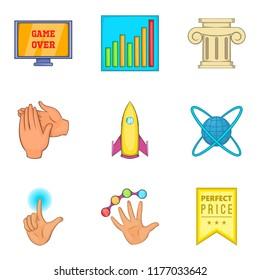 Honourable mention icons set. Cartoon set of 9 honourable mention icons for web isolated on white background