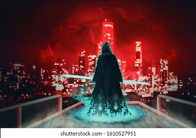 Hooded man standing and watching the city at night. Digital retouch.